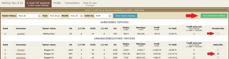 Order betting tips